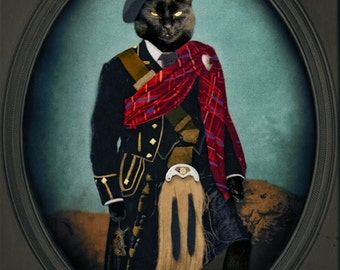 Scottish Cat Art Animal Photography Black Cat Photo Pet Portrait Lonely Pixel Photography Print - Boris the Bruce Mouser-in-Chief