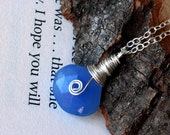 Blue Chalcedony Necklace on Sterling Silver - Ocean Swirl by CircesHouse on Etsy