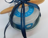 Mini Salt Pot in Celadon glaze with spoon and Sea Salt tub a Gift from Cornwall
