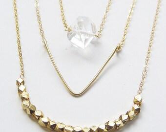 Diamond Layering Gold Necklaces Geometric