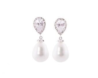 Pearl Earrings , Wedding  Earrings , Ivory Pearl Drop Earrings , Freshwater Pearl Wedding Bridal Earrings, Bridal Jewelry