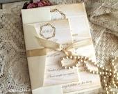 Elegant Wedding Invitation with Wreath and Aged Background Handmade SAMPLE by avintageobsession on etsy