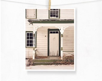 Farmhouse Photography, Cream White Decor, Rustic Photography, Abandoned, Rural Decay, Weathered, White Door Photograph, Cottage Decor