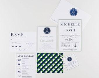 Wedding Invitation, Love Monogram, Preppy Nautical Wedding Collection