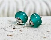 Teal Lampwork and Sterling Silver Drop Earrings, Gift for Her, Women's, Blue Green, Wedding Jewelry, Glass Earrings, Handmade, Rustic