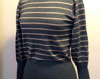 Vintage Gray and Gold Lurex Striped Sparkle Puffy Sleeved Japanese Sweater from the 80's
