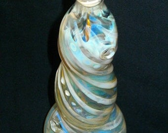"Hand Blown Glass Incense Burner Color Changing Smoking Bottle: ""Spiral"" Design, silver fume"