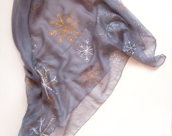 Snowflakes scarf/ Hand Painted silk chiffon scarf/ Grey scarf with golden white and copper snowflakes/ Christmas gifts mom gift for her