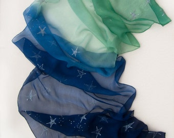 Silk Scarf. Apple Sky Ombre Shawl Hand painted. Silk chiffon scarf with silver stars. Blue green long scarf. Painted scarves. Spring scarf