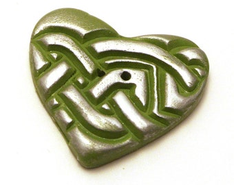Large Heart Button Green and Silver Handmade Polymer Clay 35x40mm
