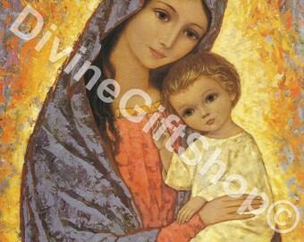 """Icon Gorgeous Virgin Mary Image 5"""" X 7"""" Print. Gorgeous Icon Image of The Virgin Mary with The Child Jesus."""