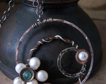 Daisy Orbit Necklace with Pearls and Apatite, Industrial Necklace,