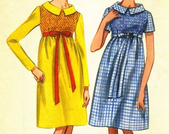 Vintage Butterick 4268 UNCUT Misses High Waisted Dress with Embroidery Like Smocking Sewing Pattern