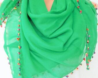 Summer Scarf , Green  Boho Scarf ,Turkish Scarf - Yemeni Scarf - Traditional Scarf - Beaded   Scarf   Women Fashion  Accessories Gift Idea