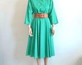80s Vintage Shirt Dress Green Swing Dress 80s does 50s