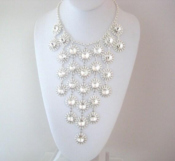 Clear Swarovski Rivoli Rinestone Waterfall Bib Statement Necklace - Bridal Jewelry zoeJane Jewels
