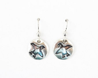 Sterling puffin earrings, Northwest jewelry, Northeast accessory, Pacific bird, Atlantic water fowl, kayaker gift