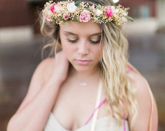 Blush Dried Flower crown Brides Maids hair wreath pink coral destination wedding accessories boho halo flower girl Bridal circlet festival