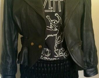 ON SALE -> Vintage Black Fringe Mini Skirt