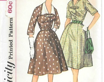Simplicity 3552 - 1960s Detachable Collar and Cuff Dress UNCUT Sewing Pattern Full Skirt Bow Three-Quarter Sleeves Bust 36