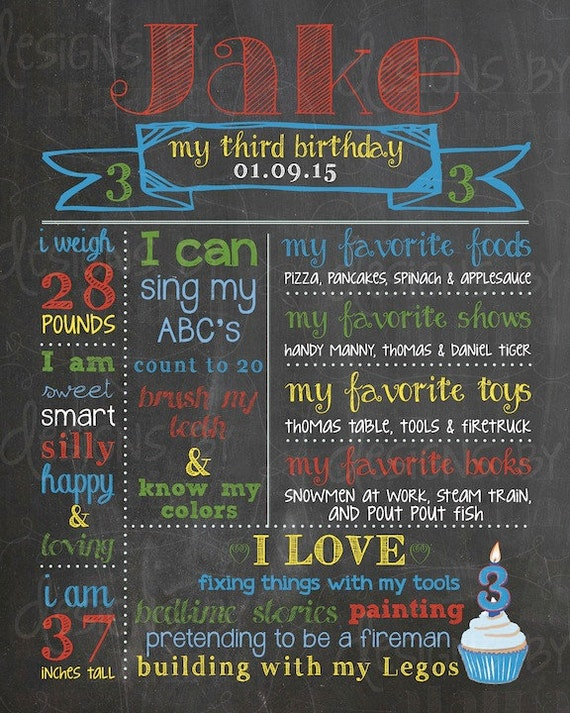 3rd Birthday Chalkboard Birthday Poster Sign For A Boy
