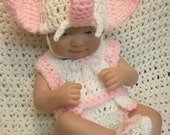 Clothes For 14 Inch and 9 Inch Dolls.Pink/White Elephant Set