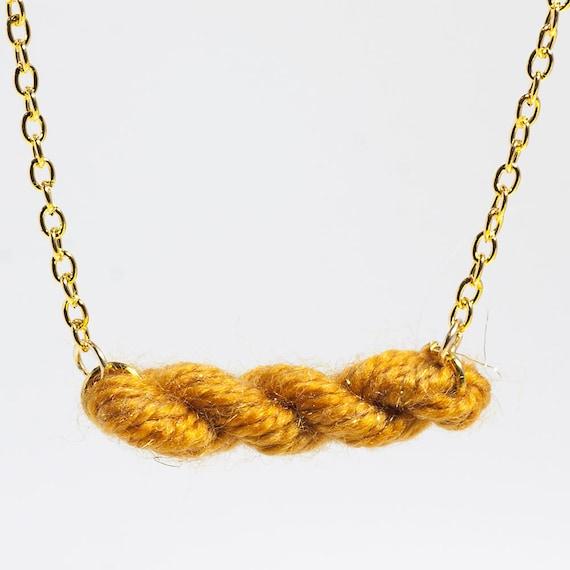 Golden Sunshine Skein of Yarn Necklace