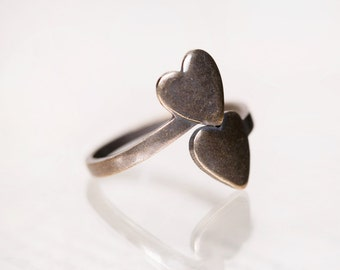 Valentine's Day Sale - Sweetheart Ring, Two Hearts Beat As One,  Heart Ring, Adjustable Ring Blanks, Antiqued Brass Thumb Ring
