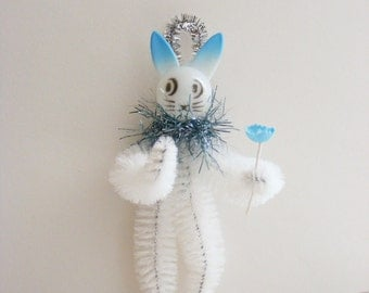 Vintage Style Easter Bunny Folk Art Cottage Chic Chenille Feather Tree Ornament