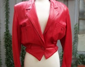 Vintage Red Leather 80s Chick Jacket MotorCycle / Size Small / Made USA
