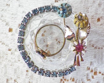 Vintage Crystal / Glass Salt Cellar Embellished, Blue Rhinestones, Pastel Flowers Vintage Jewelry, Ring Dish / Box, Trinket, Engagement
