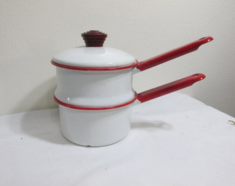 Enamel Double Boiler White and Red