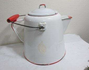 Enamel Coffee Pot Red and White Farmhouse Kitchen