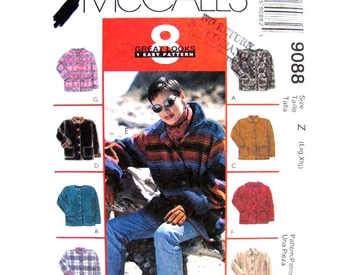 Casual Jacket Pattern McCalls 9088 Unlined Jacket Hood Buttons Pockets  Size 16 18 20 22