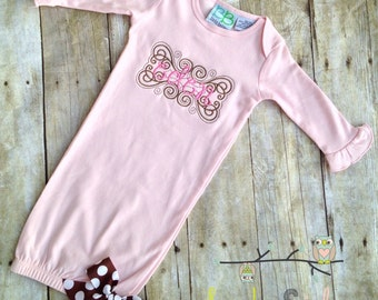 Monogrammed Flourish Name Baby Gown
