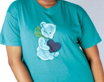 Vintage 70s Teal Green Teddy Bear Heart Painted Tee // Vintage Tshirt (sz M L)