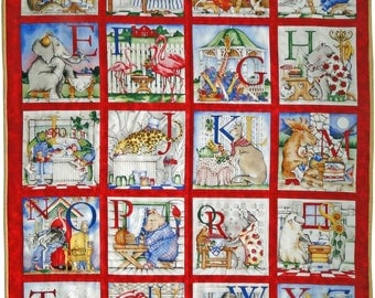 Alphabet & Pictures Educational Quilt or play-mat