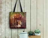 Faerie Road Tote Bag, Fairy Rabbit Painting on Eco Friendly Bag