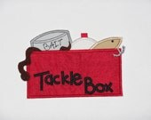 """Embroidered Iron On Applique-""""Tackle Box""""   RTS"""