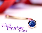 "Tragus stud  ""Simply Elegant"" -  18k SOLID Yellow Gold with a Stunning Ultramarine Blue Sapphire!"
