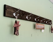 "Wall Coat Rack Wood Hanging Coat Rail 48"" with fancy Satin Chrome English Hooks"