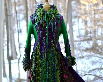 Green purple Sweater COAT. Size Small. Ready to ship