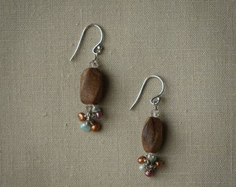Wood beads with pearls and crystals
