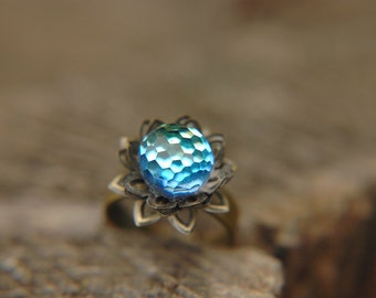 Statement Ring Crystal Ball Vivid Blue Disco Dome Vintage Swarovski Adjustable Band - Blue Lotus.