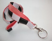 Fabric Lanyard ID Badge Holder - Lobster clasp and key ring - black white stripes with coral -  two toned double sided