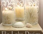 Whimsical Sand Swirl Candle Holder / Hurricane or Centerpiece Vase for Coastal Home decor & Beach Wedding Decoration