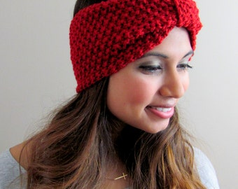 Crochet Headband Turban Headband Handmade Ear warmer Gifts for Her Head Wrap Stretch Headband Knit headband Wine Red or CHOOSE Your color