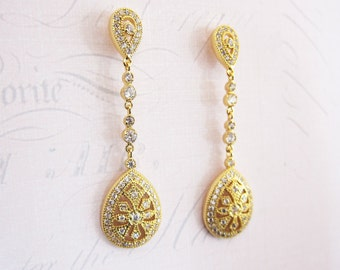 Gold Art Earrings, Vintage Gold Earrings, Gold Wedding Crystal earrings, Chandelier 1920s earrings - 'DECO DROP LONG'