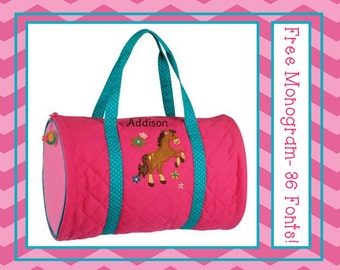 36 Fonts- Personalized Pink HORSE Girl's Quilted DUFFLE BAG by Stephen Joseph Free Monogram