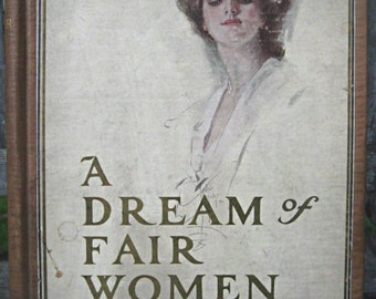Antique Harrison Fisher book, A Dream of Fair Women poetry pages altered art supply mixed media supply shabby journal supplies journal cover